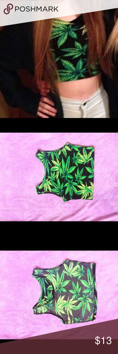 Marijuana leaf crop top Worn once. Perfect condition. Unbranded. Size Xs/s. Bundle and make offers. Cheaper on other sites. Tags: unif wild fox 420 stoner weed smoke high dollskill UNIF Tops Crop Tops