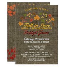 Fall in Love Bridal Luncheon Autumn Leaves Burlap Card - bridal shower wedding marriage party bride idea