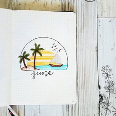 JUNE Cover Page. Wanted to do a summer beach theme cause that's where I want to be at right about now . . . . . #junebujo…