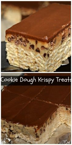 crispy treats Yes, you read that correctly. Rice krispy treats just got very fancy with an added layer of thick chocolate chip cookie dough and milk chocolate glaze! Print Cookie Dough R Cereal Cookies, Cereal Treats, Cookies Et Biscuits, Rice Krispy Treats Recipe, Rice Crispy Treats, Krispie Treats, Rice Crispy Bars, Just Desserts, Delicious Desserts