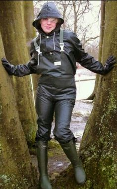 Ready for the rain  Chest waders and rubber boots