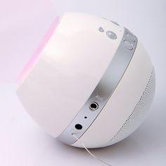 Rechargeable FM Radio Speaker 3.5mm Jack Line-in Player Lighting Effect White