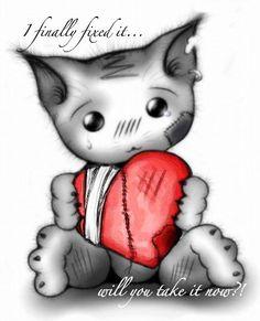 Emo kitten with heart Broken Heart Pictures, Broken Heart Drawings, Heart Broken, Heart Break Drawings, Shattered Heart, Broken Broken, You Broke My Heart, My Heart Is Breaking, Broken Hearted Girl