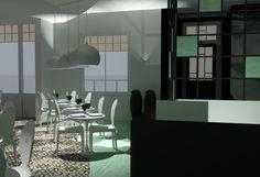 Interieurontwerp voor eetcafé 'Comodo'. Rendering vanuit Sketch-Up. Door: Milou Soeters