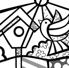 Bird and birdhouse coloring page Arte Pop, Britto Disney, Math Art, Valentines Art, Mosaic Patterns, Coloring Book Pages, Pin Up Art, Art Plastique, Famous Artists