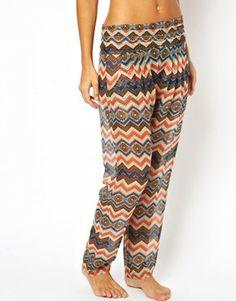 Asos Aztec Print Chiffon Beach Trouser