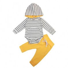 Striped Hooded Romper and Yellow Pants Outfit 2 Pcs Set Cute Baby Girl Outfits, Toddler Outfits, Boy Outfits, Yellow Pants Outfit, Boys And Girls Clothes, Striped Bodysuit, Newborn Outfits, Newborn Clothing, Toddler Fashion
