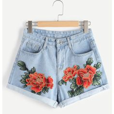 Appliques Rolled Hem Denim Shorts (33 BRL) ❤ liked on Polyvore featuring shorts, blue, embroidered shorts, short jean shorts, embroidered jean shorts, embroidered denim shorts and blue shorts