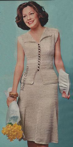 INSTANT DOWNLOAD PDF, Vintage Crochet Pattern. Peplum Top and Skirt. This outfit is done almost entirely in simple double crochet stitches. The
