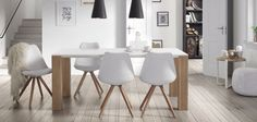 Buy this ultra cool Fusion Living Eiffel Inspired White & Petrol Blue Dining Chair with Pyramid Light Wood Legs for a modern alternative. Red Dining Chairs, Plastic Dining Chairs, Kitchen Chairs, Table And Chairs, Dining Table, Dining Room, Table Design, Chair Design, Indoor Bistro Table