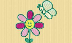 {Flowers- Cartoon Smiling Flower w Butterfly- ob_de427f_ c-est-printemps-2 K.H.}  spring