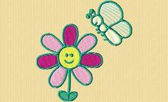 {Flowers- Cartoon Smiling Flower w Butterfly- ob_de427f_ c-est-printemps-2 K.H.}  spring