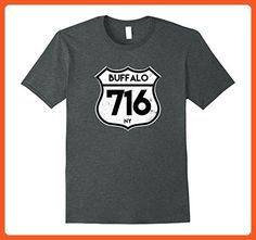 Mens Buffalo 716 Area Code T-Shirt Vintage Road Sign Tee Large Dark Heather - Animal shirts (*Partner-Link)