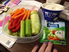 Veggies and make your own ranch dip using plain oikos Greek yogurt and hidden valley ranch packet Lunch Meal Prep, Healthy Meal Prep, Healthy Snacks, Healthy Eating, Healthy Recipes, Lunch Snacks, Lunch Recipes, Cooking Recipes, Dinner Recipes