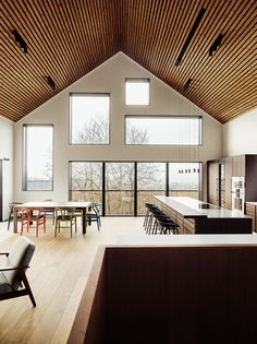 Photo 4 of 8 in A Split-Level Cabin in Norway Is a Cozy Family Hub - Dwell Modern Cabin Interior, Modern Lodge, Light Hardwood Floors, White Oak Floors, Style At Home, Barn Conversion Interiors, Cabin In The Woods, Interior Architecture, Interior Design