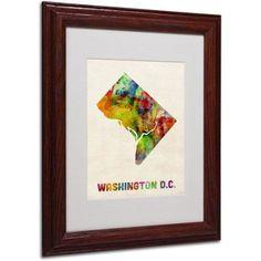 Trademark Fine Art Washington D.C. Map Matted Framed Art by Michael Tompsett, Wood Frame, Size: 16 x 20, Brown