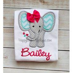 Valentine Elephant Girl Applique Design