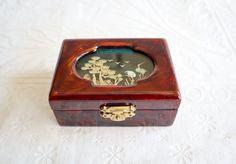 Mini Chinese Lacquer Jewelry Box, Cork Diorama Lid, Vintage Jewelry Box