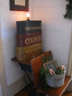 Farmhouse Christmas :: corner in our living room image by cindync_2008 - Photobucket