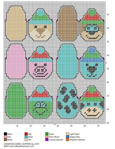 CHRISTMAS ANIMAL SLIPPERS*GIFT HOLDERS*ORNAMENTS by JODY 2/2 Plastic Canvas Coasters, Plastic Canvas Ornaments, Plastic Canvas Crafts, Plastic Canvas Patterns, Christmas Ornament Crafts, Christmas Projects, Christmas Trees, Gift Cards Money, Halloween Canvas