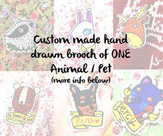 One Custom Made Animal / Pet Shrink Plastic Brooch by Rose Hudson