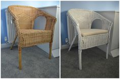 AGEN ikea wicker chair £22 spray painted in white. £55 to buy this chair in white.