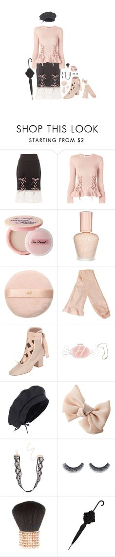 """""""moondance"""" by sookii ❤ liked on Polyvore featuring Alexander McQueen, Too Faced Cosmetics, Paul & Joe, H&M, Valentino, Hard Candy, ArtDeco, Mimco, Pink and kawaii"""