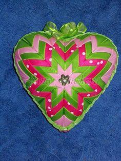 srdce ružovo-zelené 11 cm