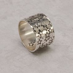 Galaxy Stars Wide Band Ring in Sterling Silver size 7 by dashery, $45.00
