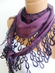 Aubergine purple Scarf Turkish Fabric Fringed by WomanStyleStore, $14.00