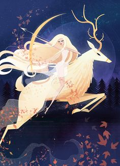 "littlepaperforest: ""Artemis and her Ceryneian Hind. ♡ "" I've updated my Artemis and her Ceryneian Hind illustration. ♡ She's been added to as a print and stationery~. Artemis Goddess, Goddess Art, Artemis Art, Moon Goddess, Art Inspo, Character Inspiration, Character Art, Evvi Art, Bel Art"