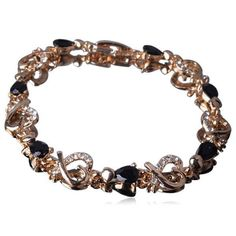 Passionaria - Black Heart Drop Cut Swarovski Crystal Gold Anklet