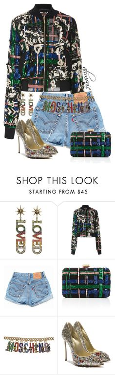 """Untitled #558"" by ahmonie ❤ liked on Polyvore featuring Gucci, Elie Saab, Levi's, Moschino and Casadei"