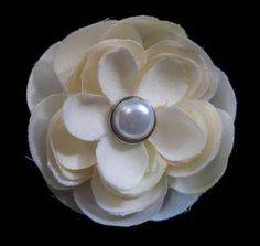#Handmade Champagne Flower and Pearl Hair Clip by ninjavspirategifts on Etsy, $8.00