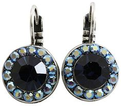 Mariana Silvertone Round Disc Small Crystal Earrings Tranquility Blue AB 1129 207 *** Check this awesome product by going to the link at the image.(This is an Amazon affiliate link)