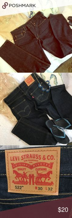 ✨Levi's Blue Jeans 👖 NWOT✨ Levi's 522 Tapered blue indigo jeans 👖 size 30/32, Never been worn or laundered & will have that stiffness until washed a few times. 100% cotton denim-discontinued style. If you are a lady who prefers the fit of this style, they would fit a size 6 (Small).🌟 Levi's Jeans Skinny