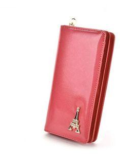 Women's Wallet Solid Color Multi Cards Metal Decor Graceful Wallet