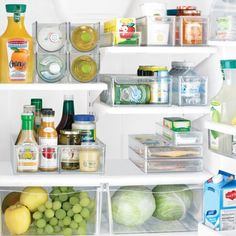 For an organized fridge, keep like things together; place taller items further back and shorter up front; utilize crisper drawers for their proper purpose