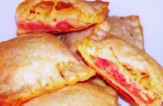 Recipe of Cheese Envelopes with Cherry Sauce.