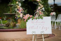 Real Wedding – Suzi & Elliot - Welcome Sign - Garden Wedding - Ceremony Styling
