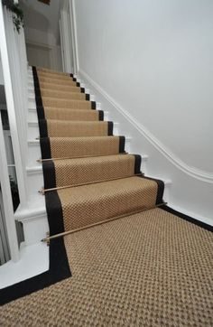 sisal stair runners Bowloom sisal stair runners with binding tape and Austin – Las Vegas Antique Brass stair rods - Stairs Building Stairs, House Stairs, Victorian Terrace, New Homes, Victorian Hallway, House, Stairways, Sisal Stair Runner, Hallway Designs
