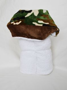 A personal favorite from my Etsy shop https://www.etsy.com/listing/199800157/green-and-brown-camo-minky-hooded-towel