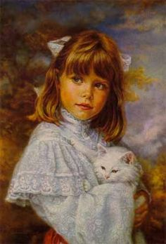 Sandra Kuck - Buttons and Bows - Image Zoom Bow Image, Photo Chat, Vintage Pictures, Beautiful Paintings, Vintage Children, Cat Art, Painting & Drawing, Vintage Art, Art History