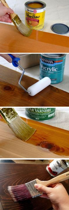 What's the Difference Between Polyurethane, Varnish, Shellac and Lacquer? 'What's the Difference Between Polyurethane, Varnish, Shellac and Lacquer?' (via DIY) Carpentry Projects, Wood Projects, Woodworking Projects Plans, Woodworking Shop, Woodworking Furniture, Woodworking Courses, Popular Woodworking, Woodworking Videos, Pintura Patina