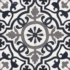 Cement Tile Shop - Encaustic Cement Tile Amalia Black; Terrific source for…