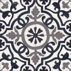 Cement Tile Shop - Encaustic Cement Tile Amalia Black; Terrific source for handmade encaustic tiles