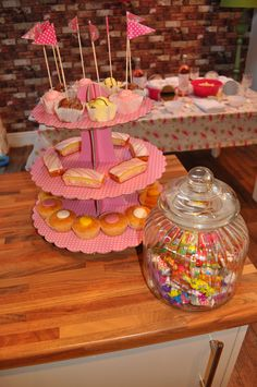 Pretty little cake stand filled with the little ladies favours and a lovely jar of sweets alway goes down well