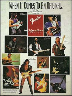 1993 ad for Fender's Signature series shows its artist-model Stratocaster players of that period, including Jeff Beck, Eric Clapton, Robert Cray, Yngwie Malmsteen, Richie Sambora and Stevie Ray Vaughan.