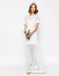 vestido de noiva barato low cost da asos estilo vintage com manga curta 1