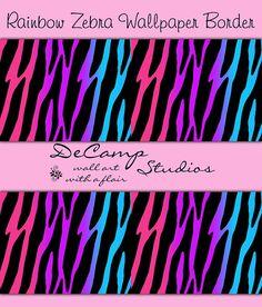 RAINBOW ZEBRA WALLPAPER Border Wall Decals Teen Girls Room Childrens Bedroom Kids Playroom Purple Hot Pink Stripes Art Stickers decor